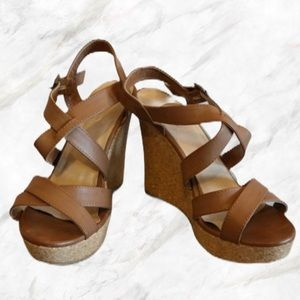 Aldo   Strappy Brown Faux-Leather Wedges